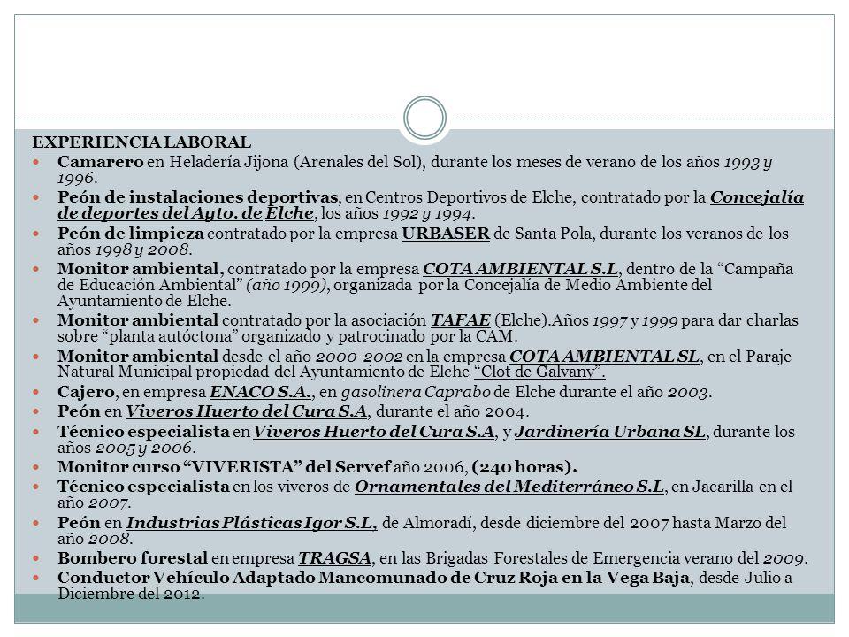EXPERIENCIA LABORAL Camarero en Heladería Jijona (Arenales del Sol), durante los meses de verano de los años 1993 y 1996. Peón de instalaciones deport