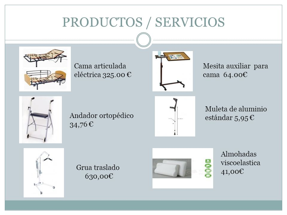 PRODUCTOS / SERVICIOS Muleta de aluminio estándar 5,95 Cama articulada eléctrica 325.00 Mesita auxiliar para cama 64.00 Grua traslado 630,00 Almohadas