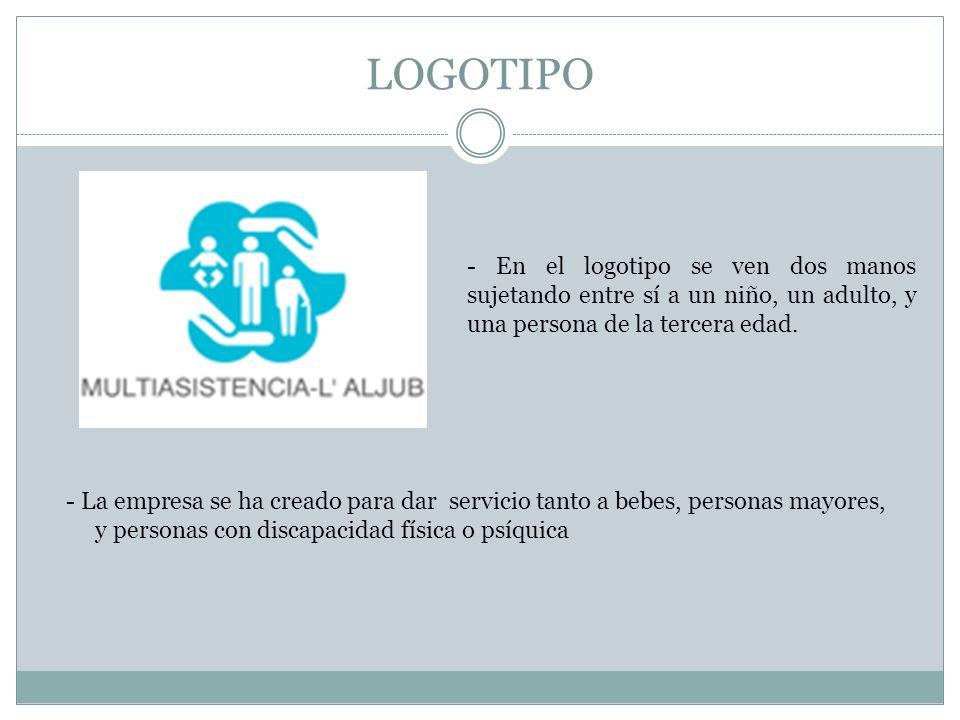 LOGOTIPO - En el logotipo se ven dos manos sujetando entre sí a un niño, un adulto, y una persona de la tercera edad. - La empresa se ha creado para d