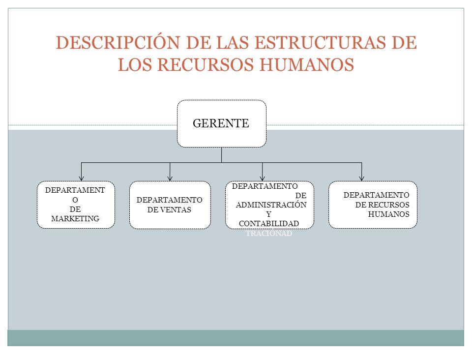 DESCRIPCIÓN DE LAS ESTRUCTURAS DE LOS RECURSOS HUMANOS GERENTE DEPARTAMENT O DE MARKETING DEPARTAMENTO DE VENTAS DEPARTAMENTO DE ADMINISTRACIÓN Y CONT