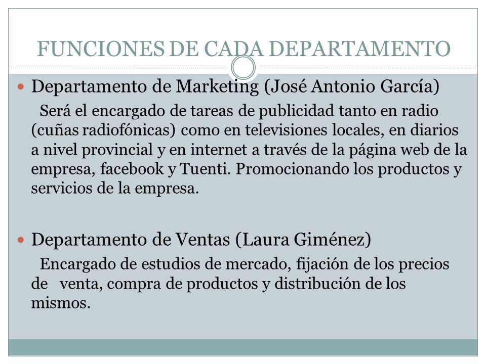 FUNCIONES DE CADA DEPARTAMENTO Departamento de Marketing (José Antonio García) Será el encargado de tareas de publicidad tanto en radio (cuñas radiofó