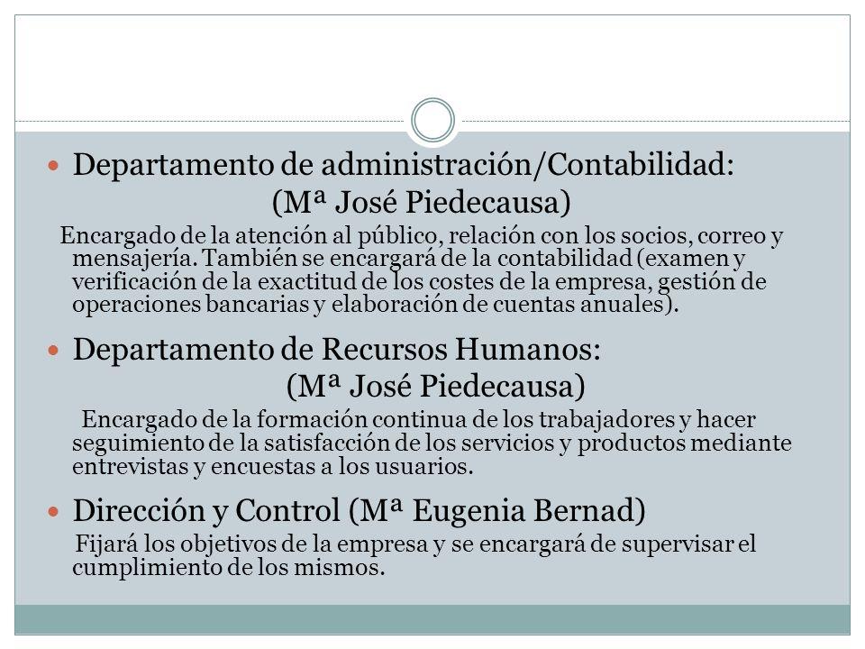 Departamento de administración/Contabilidad: (Mª José Piedecausa) Encargado de la atención al público, relación con los socios, correo y mensajería. T