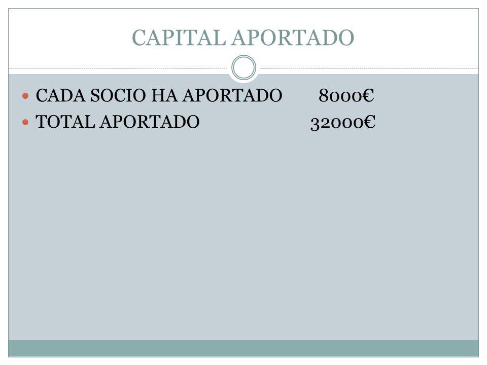 CAPITAL APORTADO CADA SOCIO HA APORTADO 8000 TOTAL APORTADO 32000