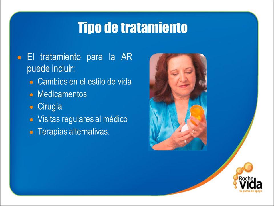 Tipo de tratamiento El tratamiento para la AR puede incluir: Cambios en el estilo de vida Medicamentos Cirugía Visitas regulares al médico Terapias alternativas.