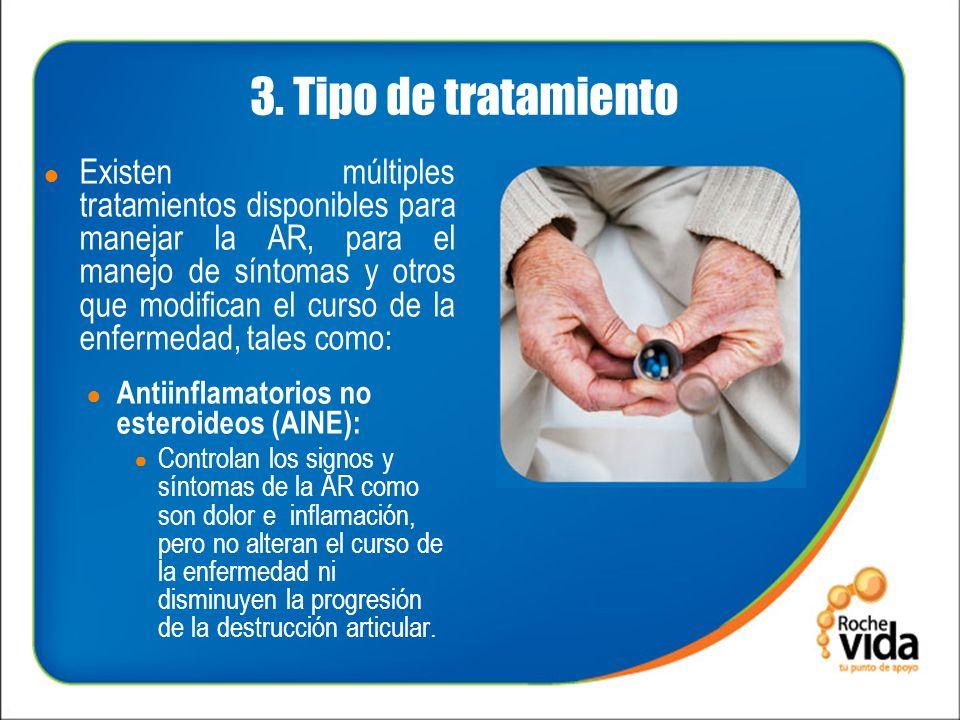 3. Tipo de tratamiento Existen múltiples tratamientos disponibles para manejar la AR, para el manejo de síntomas y otros que modifican el curso de la