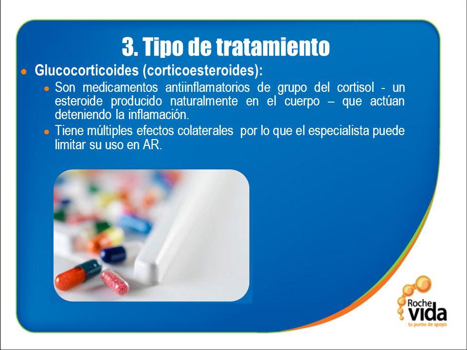 3. Tipo de tratamiento Glucocorticoides (corticoesteroides): Son medicamentos antiinflamatorios de grupo del cortisol - un esteroide producido natural