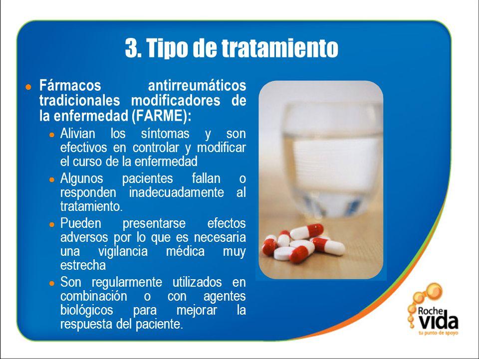3. Tipo de tratamiento Fármacos antirreumáticos tradicionales modificadores de la enfermedad (FARME): Alivian los síntomas y son efectivos en controla