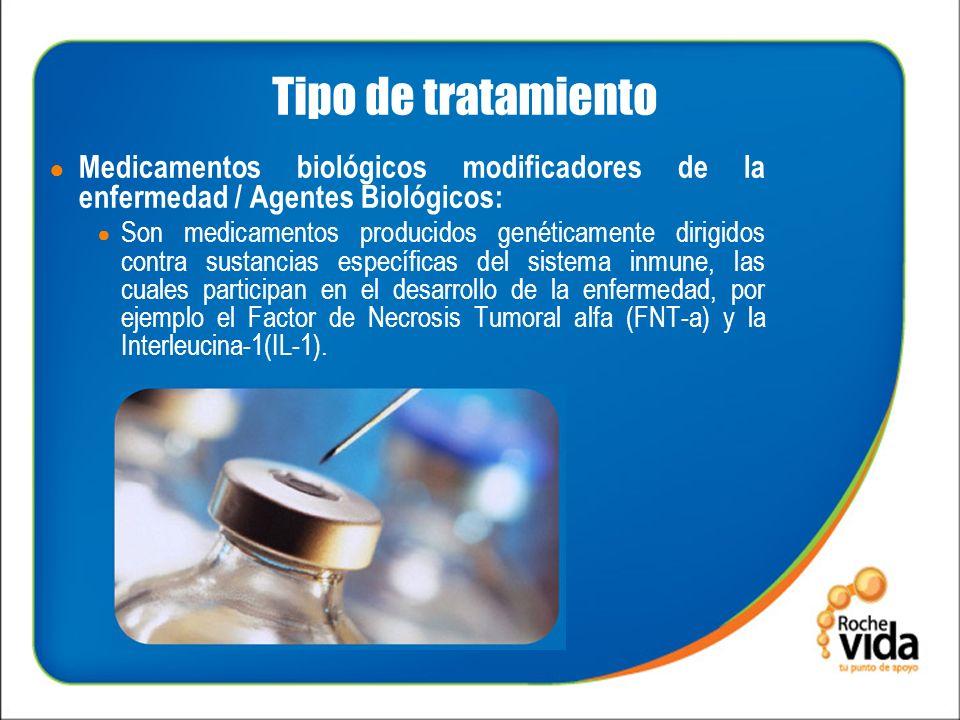 Tipo de tratamiento Medicamentos biológicos modificadores de la enfermedad / Agentes Biológicos: Son medicamentos producidos genéticamente dirigidos contra sustancias específicas del sistema inmune, las cuales participan en el desarrollo de la enfermedad, por ejemplo el Factor de Necrosis Tumoral alfa (FNT-a) y la Interleucina-1(IL-1).