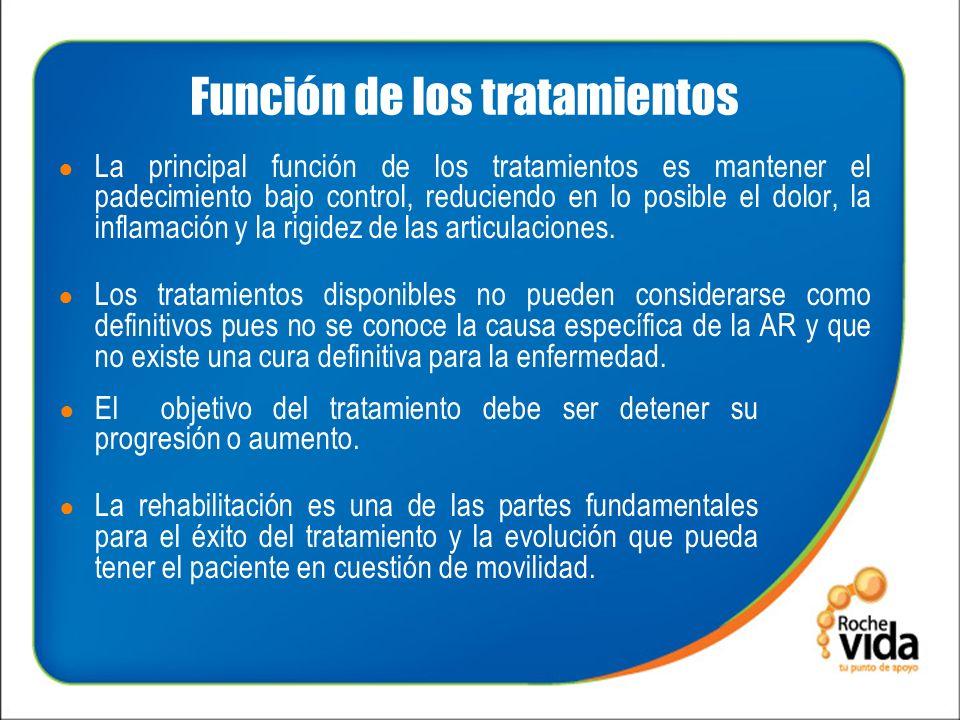 Función de los tratamientos La principal función de los tratamientos es mantener el padecimiento bajo control, reduciendo en lo posible el dolor, la inflamación y la rigidez de las articulaciones.