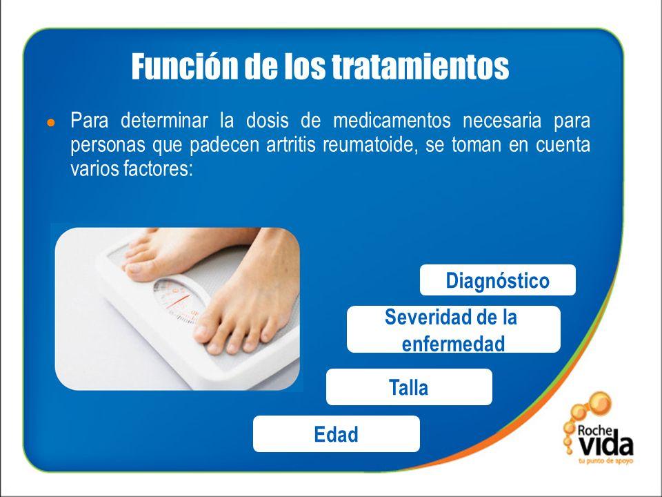 Función de los tratamientos Para determinar la dosis de medicamentos necesaria para personas que padecen artritis reumatoide, se toman en cuenta varios factores: Diagnóstico Severidad de la enfermedad Talla Edad