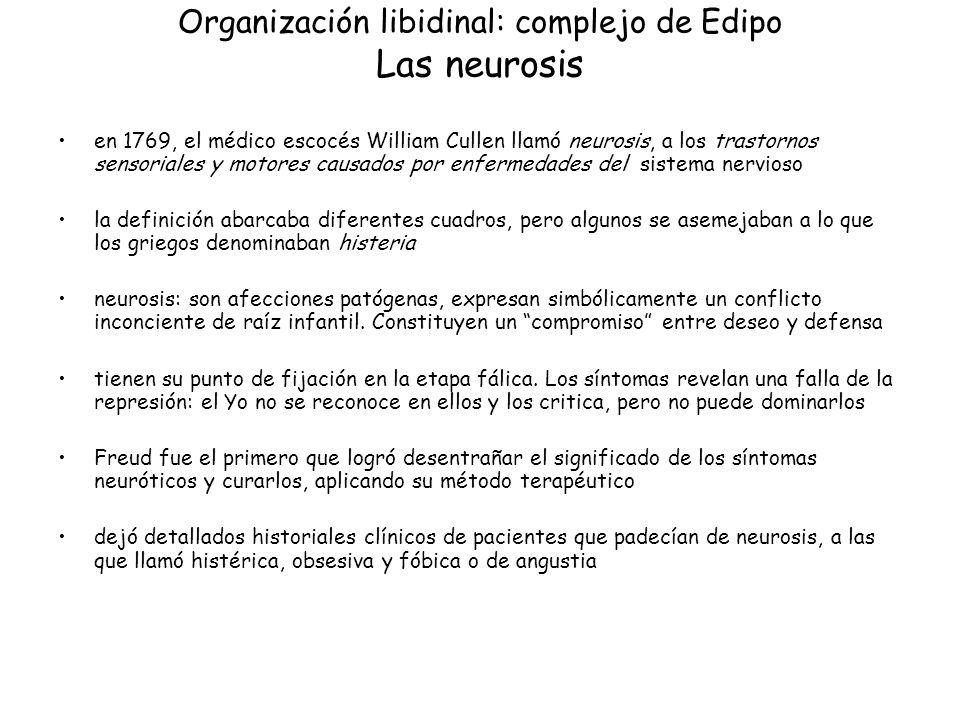Organización libidinal: complejo de Edipo Las neurosis en 1769, el médico escocés William Cullen llamó neurosis, a los trastornos sensoriales y motore