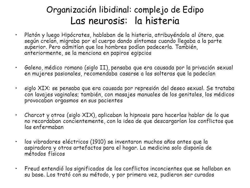 Organización libidinal: complejo de Edipo Las neurosis: la histeria Platón y luego Hipócrates, hablaban de la histeria, atribuyéndola al útero, que se