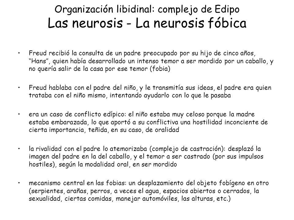 Organización libidinal: complejo de Edipo Las neurosis - La neurosis fóbica Freud recibió la consulta de un padre preocupado por su hijo de cinco años