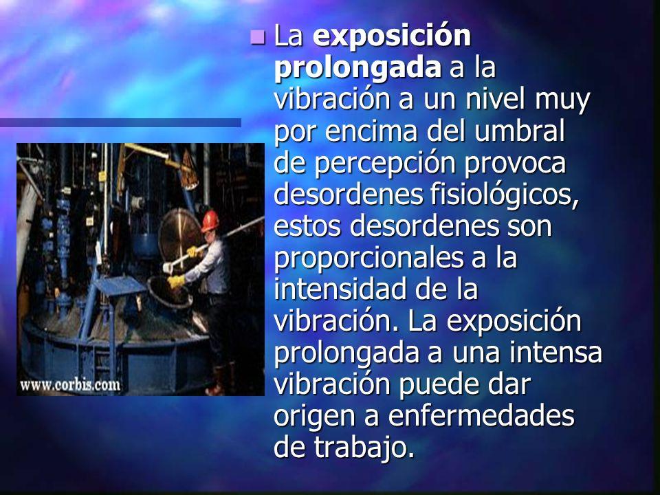 La exposición prolongada a la vibración a un nivel muy por encima del umbral de percepción provoca desordenes fisiológicos, estos desordenes son propo