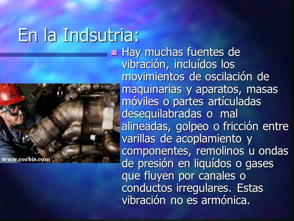 En la Indsutria: Hay muchas fuentes de vibración, incluídos los movimientos de oscilación de maquinarias y aparatos, masas móviles o partes artículada
