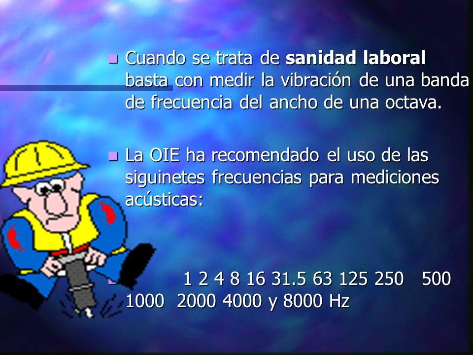 Cuando se trata de sanidad laboral basta con medir la vibración de una banda de frecuencia del ancho de una octava. Cuando se trata de sanidad laboral