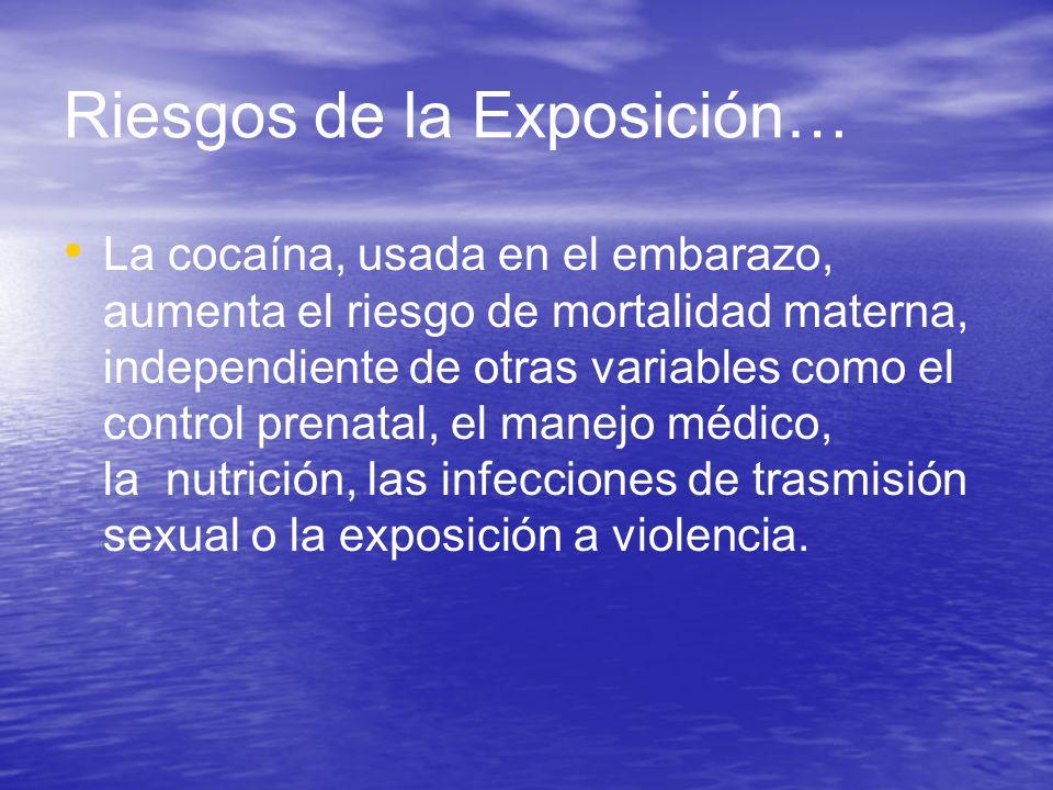 Riesgos de la Exposición… La cocaína, usada en el embarazo, aumenta el riesgo de mortalidad materna, independiente de otras variables como el control