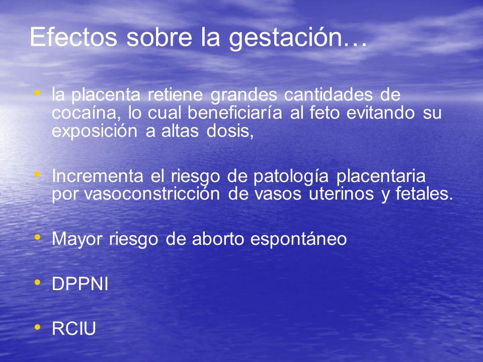 Efectos sobre la gestación… la placenta retiene grandes cantidades de cocaína, lo cual beneficiaría al feto evitando su exposición a altas dosis, Incr