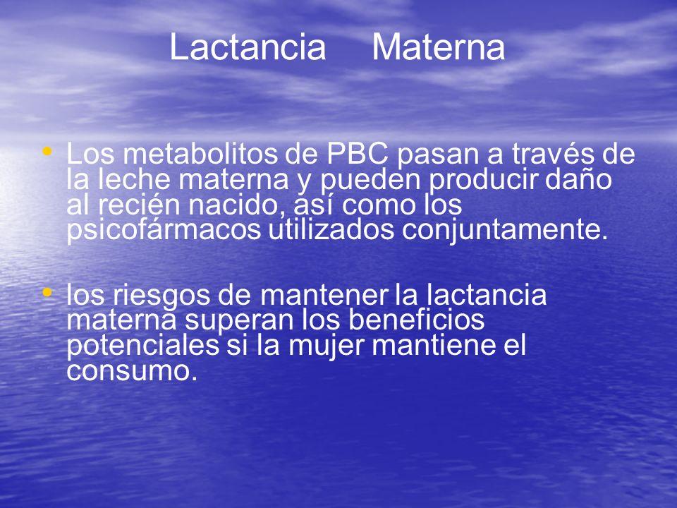 Los metabolitos de PBC pasan a través de la leche materna y pueden producir daño al recién nacido, así como los psicofármacos utilizados conjuntamente