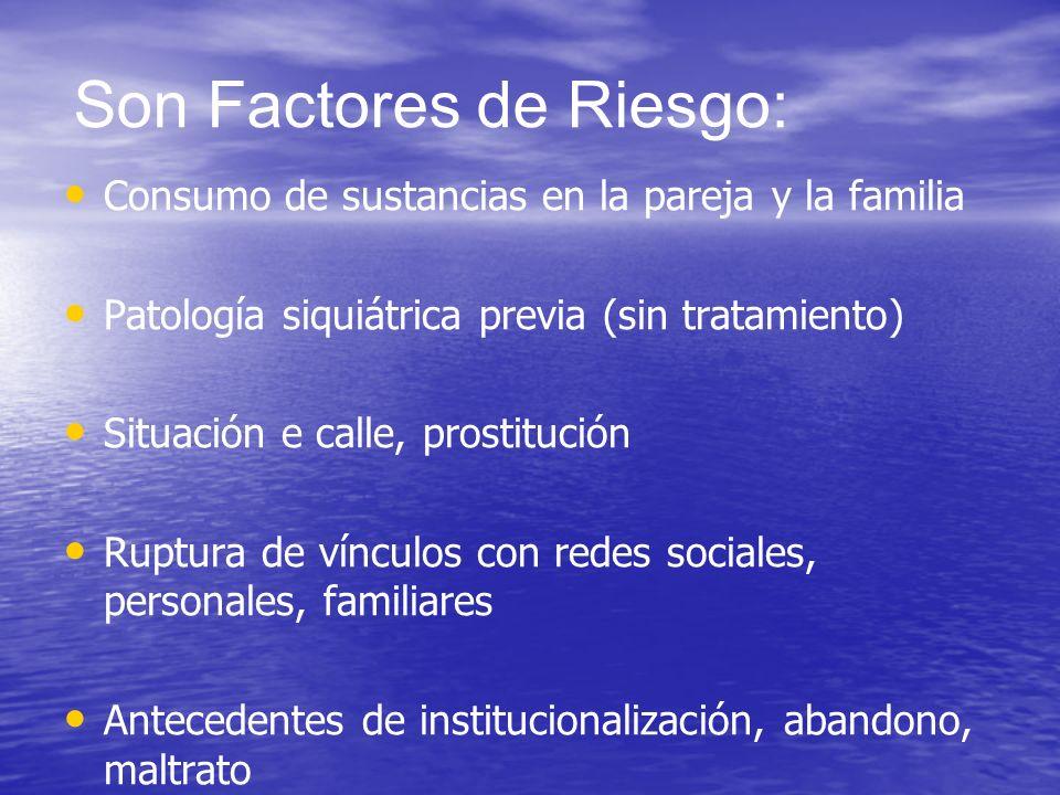 Son Factores de Riesgo: Consumo de sustancias en la pareja y la familia Patología siquiátrica previa (sin tratamiento) Situación e calle, prostitución