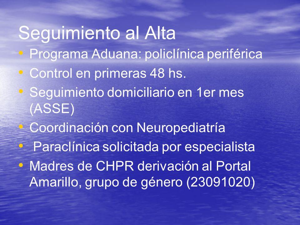 Seguimiento al Alta Programa Aduana: policlínica periférica Control en primeras 48 hs. Seguimiento domiciliario en 1er mes (ASSE) Coordinación con Neu