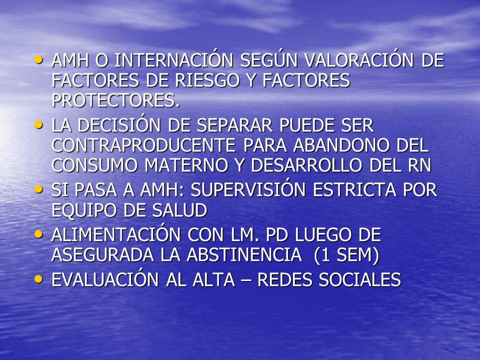 AMH O INTERNACIÓN SEGÚN VALORACIÓN DE FACTORES DE RIESGO Y FACTORES PROTECTORES. AMH O INTERNACIÓN SEGÚN VALORACIÓN DE FACTORES DE RIESGO Y FACTORES P
