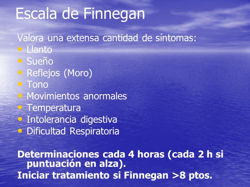 Escala de Finnegan Valora una extensa cantidad de síntomas: Llanto Sueño Reflejos (Moro) Tono Movimientos anormales Temperatura Intolerancia digestiva