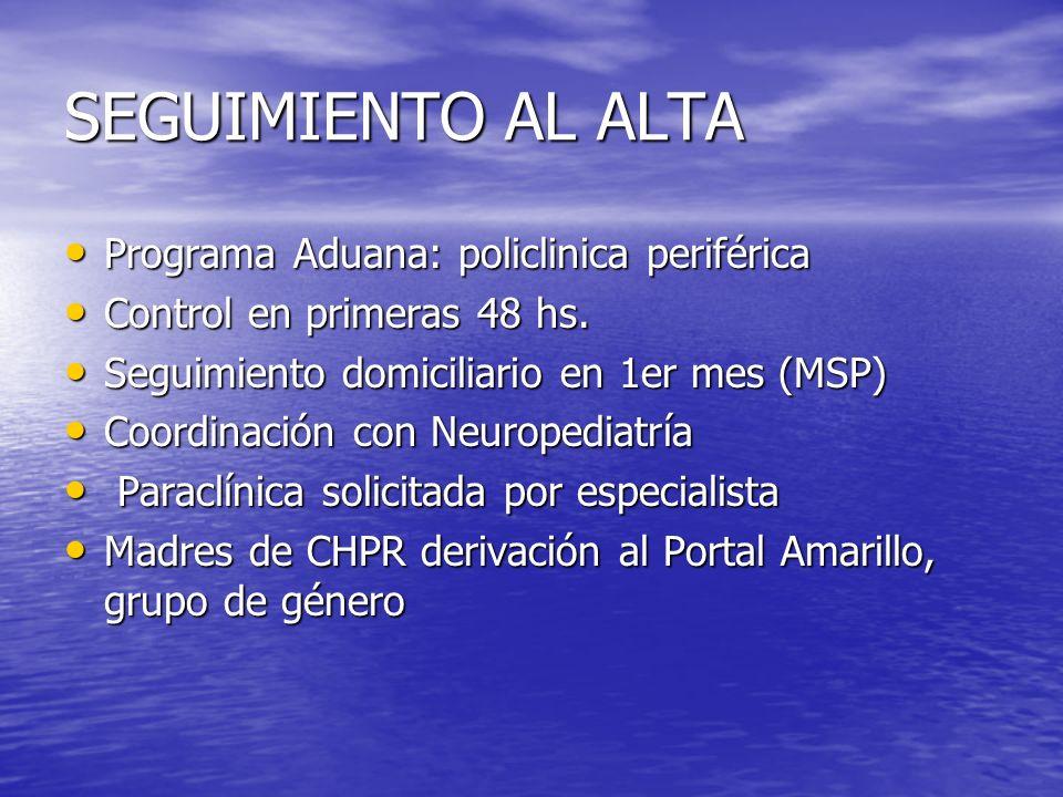 SEGUIMIENTO AL ALTA Programa Aduana: policlinica periférica Programa Aduana: policlinica periférica Control en primeras 48 hs. Control en primeras 48