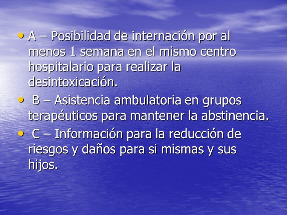 A – Posibilidad de internación por al menos 1 semana en el mismo centro hospitalario para realizar la desintoxicación. A – Posibilidad de internación