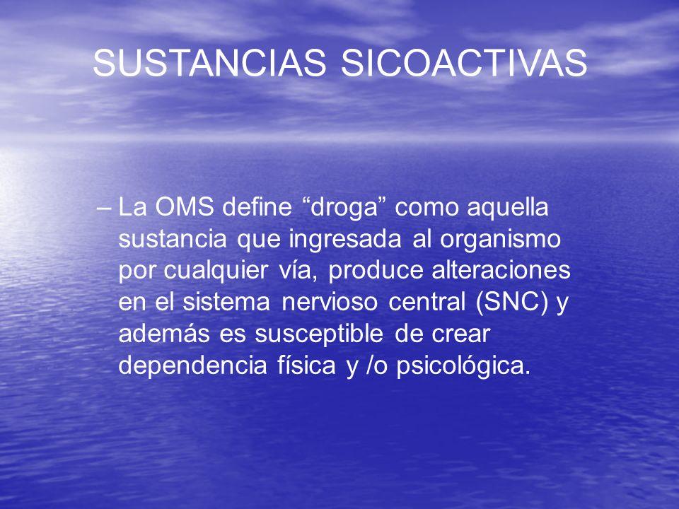SUSTANCIAS SICOACTIVAS –La OMS define droga como aquella sustancia que ingresada al organismo por cualquier vía, produce alteraciones en el sistema ne