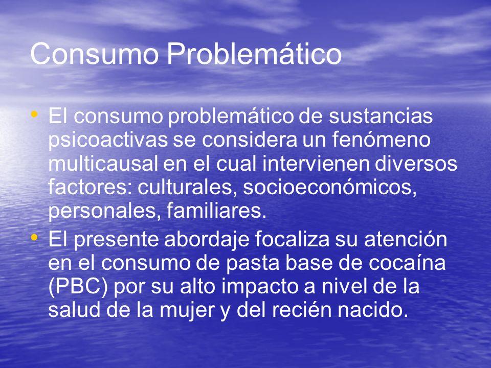 Consumo Problemático El consumo problemático de sustancias psicoactivas se considera un fenómeno multicausal en el cual intervienen diversos factores: