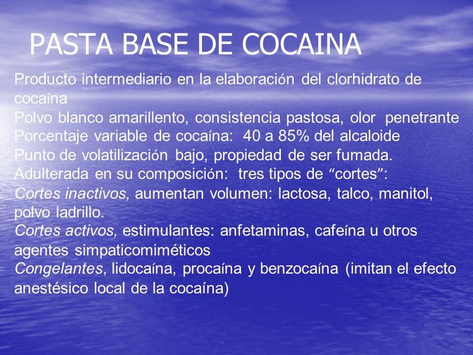 PASTA BASE DE COCAINA Producto intermediario en la elaboraci ó n del clorhidrato de coca í na Polvo blanco amarillento, consistencia pastosa, olor pen