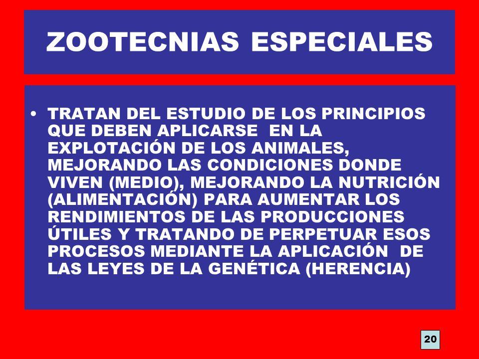 ZOOTECNIAS ESPECIALES TRATAN DEL ESTUDIO DE LOS PRINCIPIOS QUE DEBEN APLICARSE EN LA EXPLOTACIÓN DE LOS ANIMALES, MEJORANDO LAS CONDICIONES DONDE VIVE