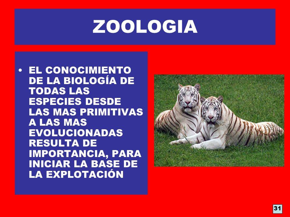 ZOOLOGIA EL CONOCIMIENTO DE LA BIOLOGÍA DE TODAS LAS ESPECIES DESDE LAS MAS PRIMITIVAS A LAS MAS EVOLUCIONADAS RESULTA DE IMPORTANCIA, PARA INICIAR LA