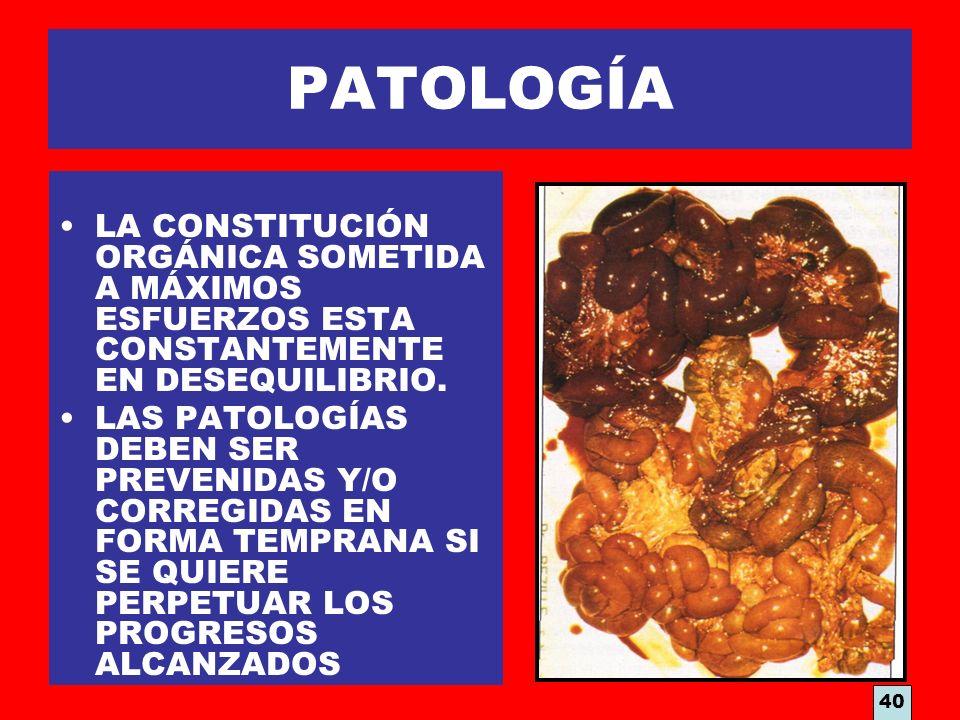 PATOLOGÍA LA CONSTITUCIÓN ORGÁNICA SOMETIDA A MÁXIMOS ESFUERZOS ESTA CONSTANTEMENTE EN DESEQUILIBRIO. LAS PATOLOGÍAS DEBEN SER PREVENIDAS Y/O CORREGID