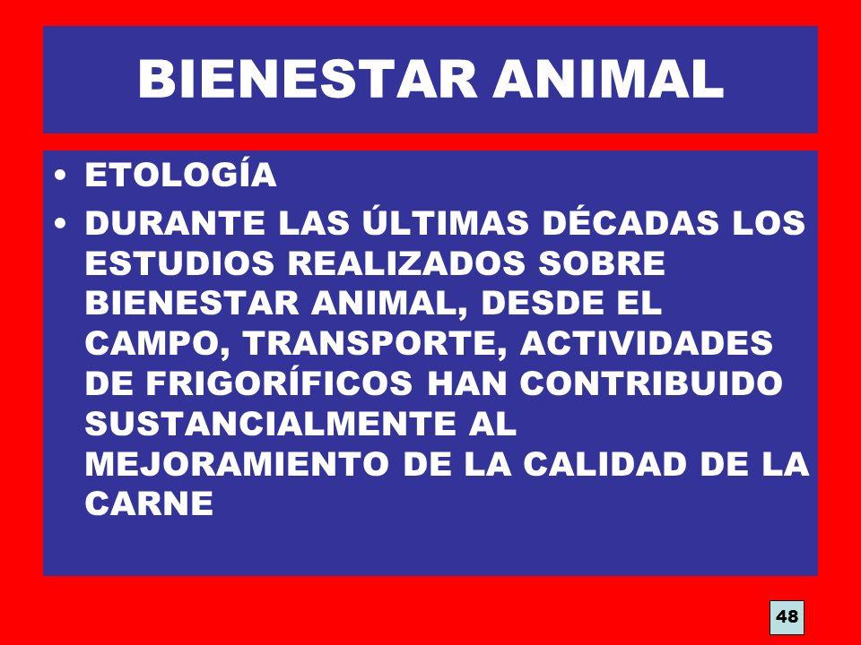 BIENESTAR ANIMAL ETOLOGÍA DURANTE LAS ÚLTIMAS DÉCADAS LOS ESTUDIOS REALIZADOS SOBRE BIENESTAR ANIMAL, DESDE EL CAMPO, TRANSPORTE, ACTIVIDADES DE FRIGO