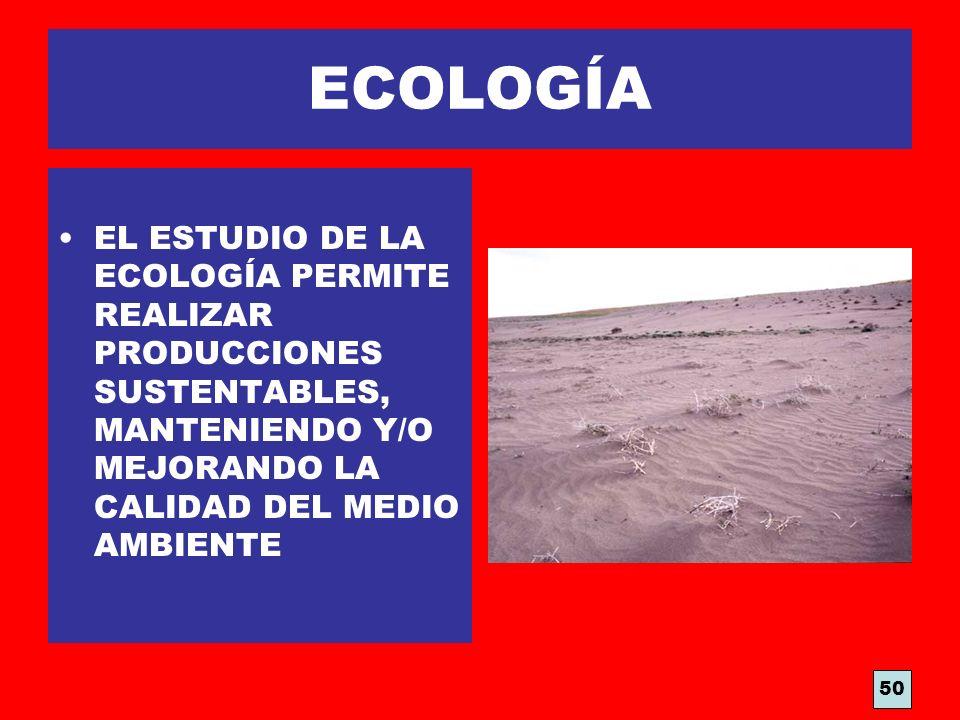 ECOLOGÍA EL ESTUDIO DE LA ECOLOGÍA PERMITE REALIZAR PRODUCCIONES SUSTENTABLES, MANTENIENDO Y/O MEJORANDO LA CALIDAD DEL MEDIO AMBIENTE 50