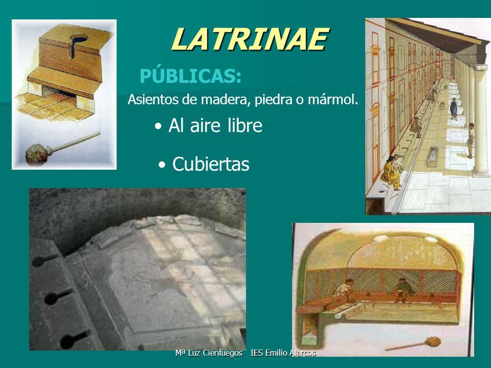LATRINAE PÚBLICAS: Al aire libre Cubiertas Asientos de madera, piedra o mármol. Mª Luz Cienfuegos IES Emilio Alarcos