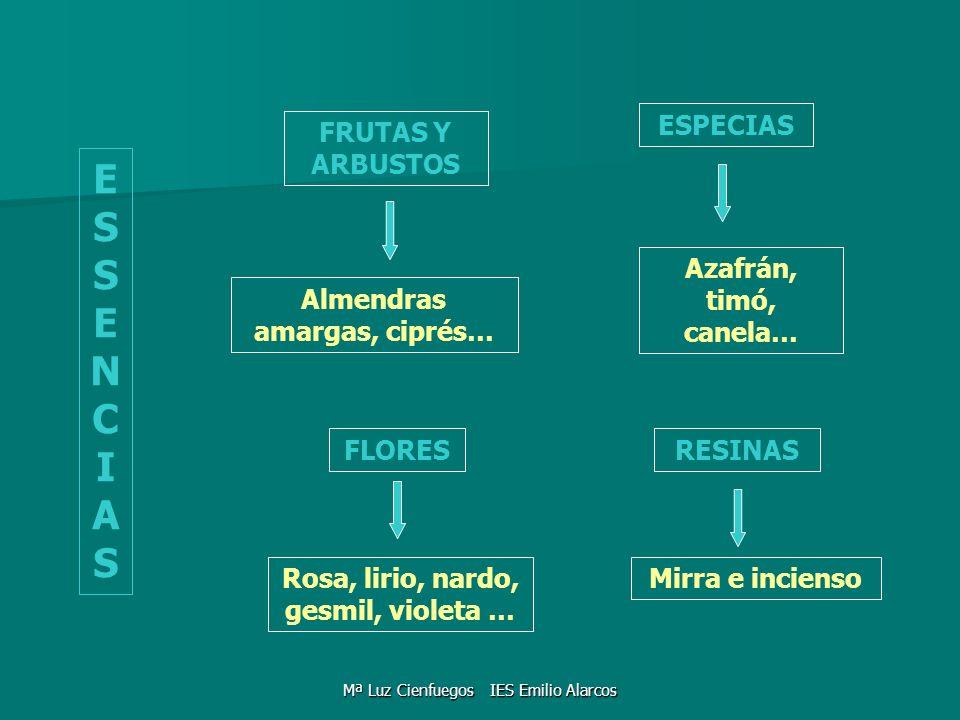 ESSENCIASESSENCIAS FLORES FRUTAS Y ARBUSTOS ESPECIAS RESINAS Almendras amargas, ciprés… Azafrán, timó, canela… Rosa, lirio, nardo, gesmil, violeta … M