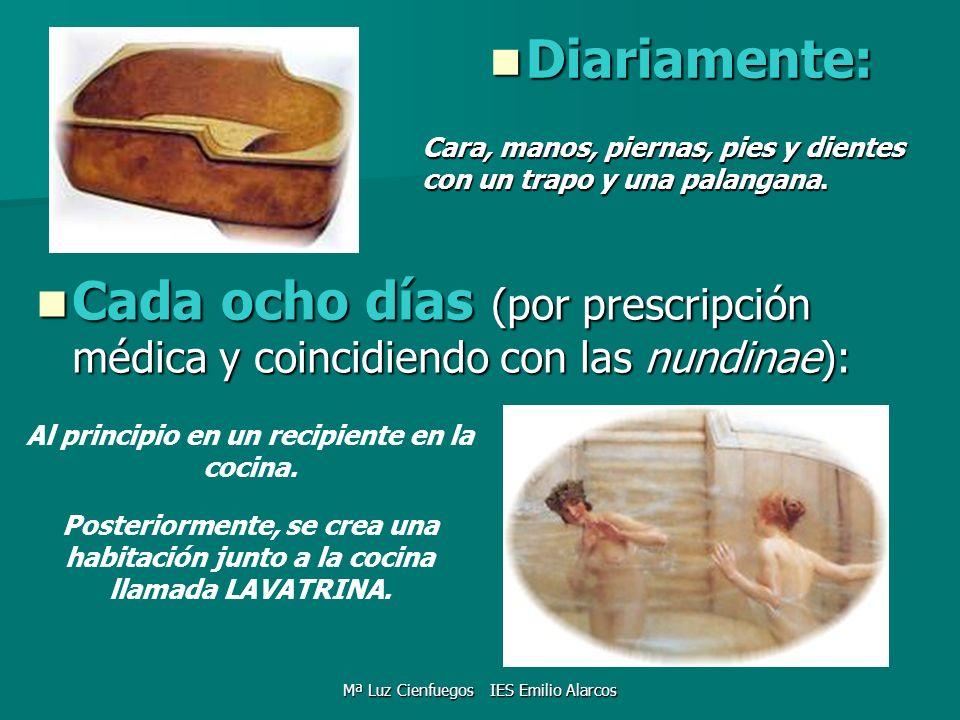 Diariamente: Diariamente: Al principio en un recipiente en la cocina. Cara, manos, piernas, pies y dientes con un trapo y una palangana. Cada ocho día