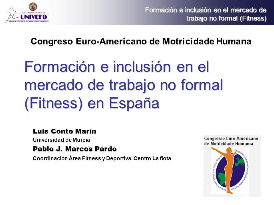 Formación e inclusión en el mercado de trabajo no formal (Fitness) Indice 1.El sector actual del mercado del Fitness en España 2.Intervención 3.Calificación profesional 4.Certificación 5.Centros de formación