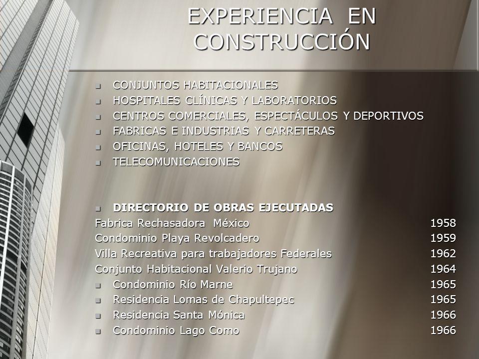 EXPERIENCIA EN CONSTRUCCIÓN CONJUNTOS HABITACIONALES CONJUNTOS HABITACIONALES HOSPITALES CLÍNICAS Y LABORATORIOS HOSPITALES CLÍNICAS Y LABORATORIOS CENTROS COMERCIALES, ESPECTÁCULOS Y DEPORTIVOS CENTROS COMERCIALES, ESPECTÁCULOS Y DEPORTIVOS FABRICAS E INDUSTRIAS Y CARRETERAS FABRICAS E INDUSTRIAS Y CARRETERAS OFICINAS, HOTELES Y BANCOS OFICINAS, HOTELES Y BANCOS TELECOMUNICACIONES TELECOMUNICACIONES DIRECTORIO DE OBRAS EJECUTADAS DIRECTORIO DE OBRAS EJECUTADAS Fabrica Rechasadora México1958 Condominio Playa Revolcadero1959 Villa Recreativa para trabajadores Federales1962 Conjunto Habitacional Valerio Trujano1964 Condominio Río Marne1965 Condominio Río Marne1965 Residencia Lomas de Chapultepec1965 Residencia Lomas de Chapultepec1965 Residencia Santa Mónica1966 Residencia Santa Mónica1966 Condominio Lago Como1966 Condominio Lago Como1966