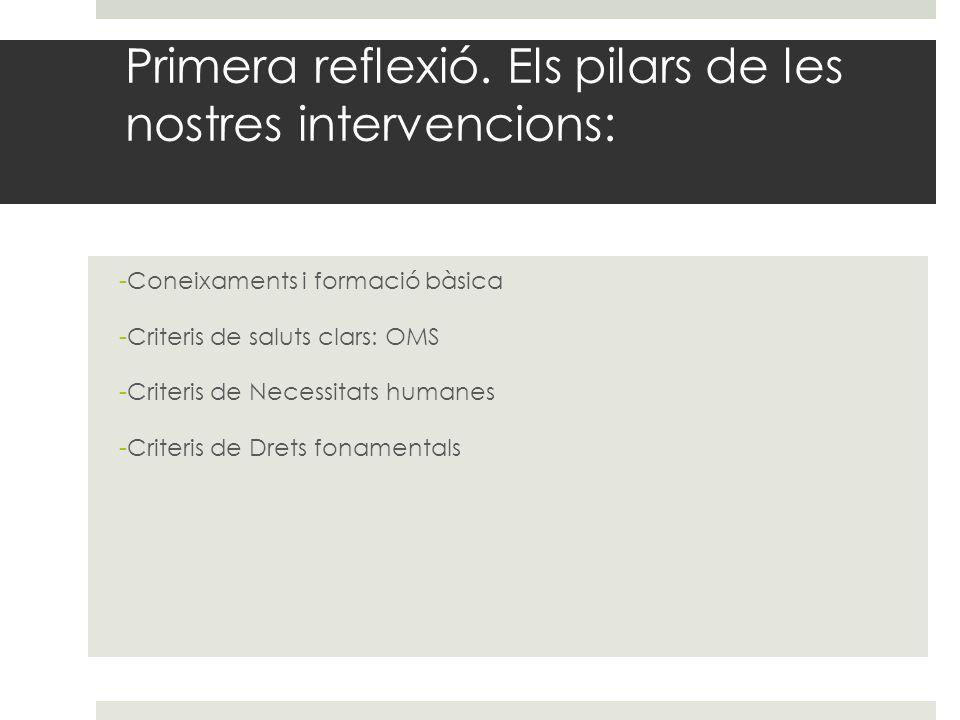 Primera reflexió. Els pilars de les nostres intervencions: -Coneixaments i formació bàsica -Criteris de saluts clars: OMS -Criteris de Necessitats hum