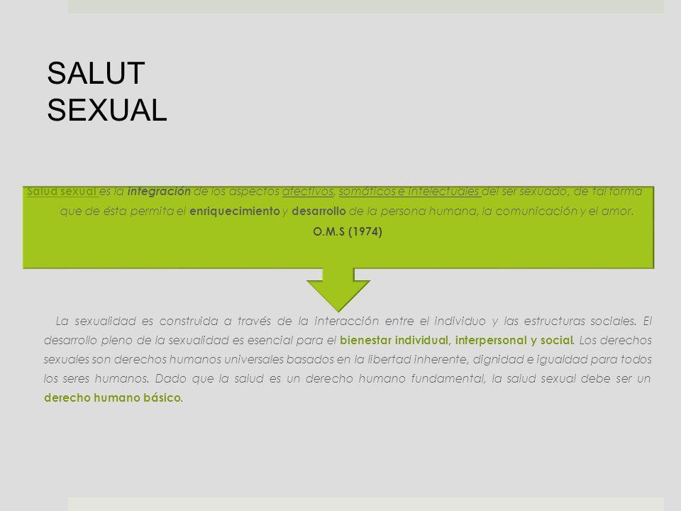 Salud sexual es la integración de los aspectos afectivos, somáticos e intelectuales del ser sexuado, de tal forma que de ésta permita el enriquecimien