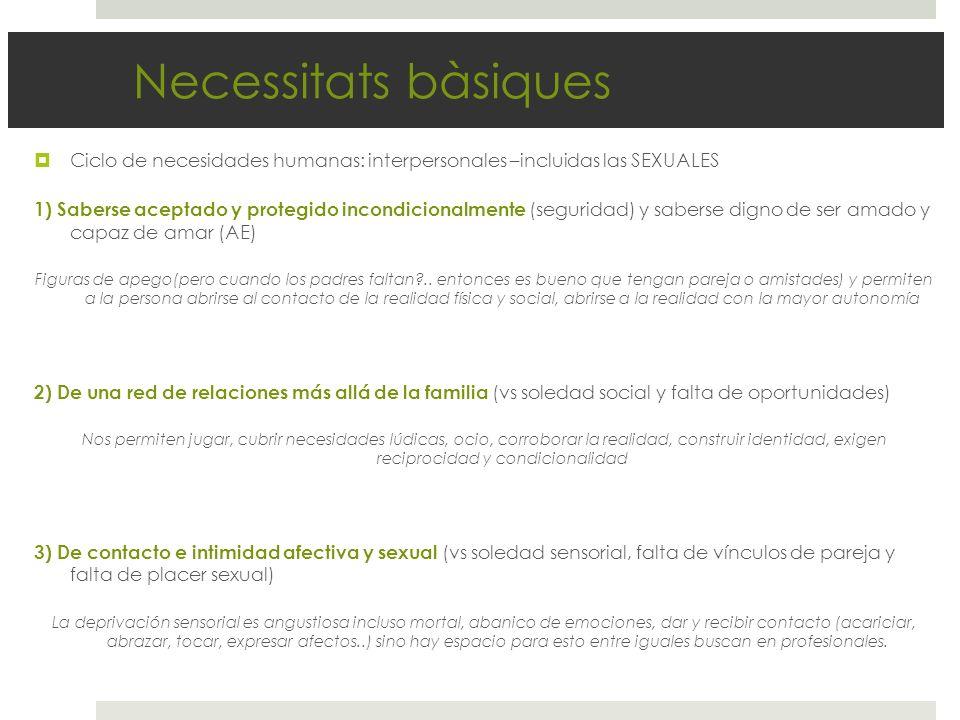 Necessitats bàsiques Ciclo de necesidades humanas: interpersonales –incluidas las SEXUALES 1) Saberse aceptado y protegido incondicionalmente (segurid