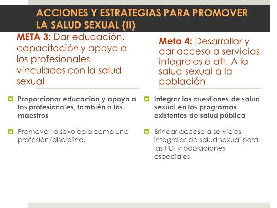 ACCIONES Y ESTRATEGIAS PARA PROMOVER LA SALUD SEXUAL (II) META 3: Dar educación, capacitación y apoyo a los profesionales vinculados con la salud sexu