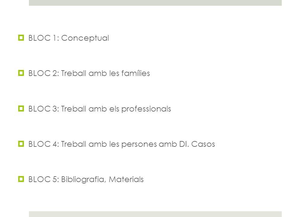 BLOC 1: Conceptual BLOC 2: Treball amb les famílies BLOC 3: Treball amb els professionals BLOC 4: Treball amb les persones amb DI. Casos BLOC 5: Bibli