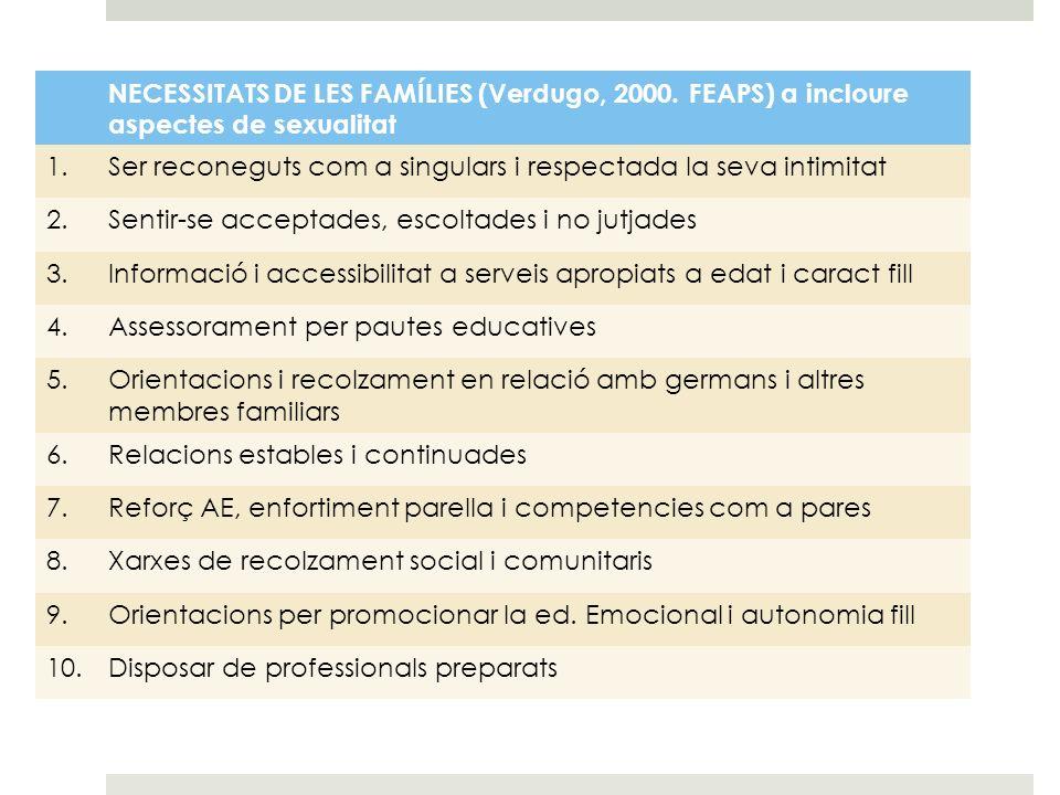 NECESSITATS DE LES FAMÍLIES (Verdugo, 2000. FEAPS) a incloure aspectes de sexualitat 1.Ser reconeguts com a singulars i respectada la seva intimitat 2