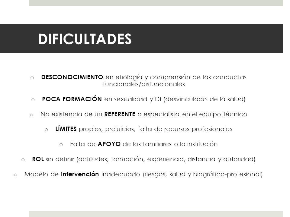 DIFICULTADES o DESCONOCIMIENTO en etiología y comprensión de las conductas funcionales/disfuncionales o POCA FORMACIÓN en sexualidad y DI (desvinculad