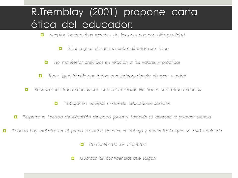 R.Tremblay (2001) propone carta ética del educador: Aceptar los derechos sexuales de las personas con discapacidad Estar seguro de que se sabe afronta